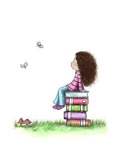 Meisje en boeken  DAGDROMEN  Art Print door PeriwinkleAndHazel