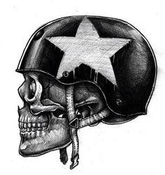 skull motocycle tattoo