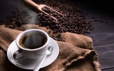 Cup of coffee with smoke and coffee beans on old wooden background - Buy this stock photo and explore similar images at Adobe Stock Espresso Coffee, Coffee Cups, Kai, Wooden Background, Vintage Table, Coffee Time, Wood And Metal, Coffee Beans, Tableware
