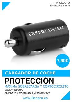 Producto Energy Sistem: Cargador de coche Es el complemento perfecto para cualquier dispositivo de carga USB. Permite alimentar o cargar la batería de forma rápida,cómoda,segura y sin encender el ordenador.Salida de hasta 1000mA y protección ante sobrecarga y cortocircuito.