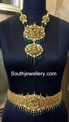 Antique deep Nakshi necklace and huge vaddanam with emarald beads and flat diamonds
