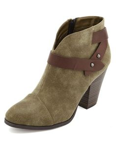 olive green western ankle strap bootie Crazy Shoes, New Shoes, Ankle Booties, Bootie Boots, Olive Green Boots, Pumps, Heels, Ankle Straps, Charlotte Russe