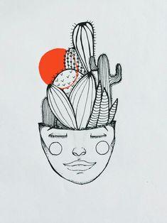 Flowers instead of cactus Art Sketches, Art Drawings, Cactus Tattoo, Cactus Drawing, Doodle Art, Art Boards, Art Inspo, Line Art, Illustration Art