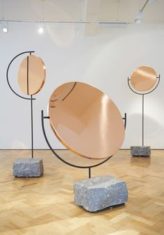 Copper Mirror Series by Hunting & Narud London  A series of eight free-standing copper mirrors by the Norwegian designers Amy Hunting and Oscar Narud pays tribute to the topographical heritage of Norway.