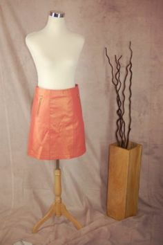 Cache Leather Skirt 2 Coral Opalescent New A-line Mini