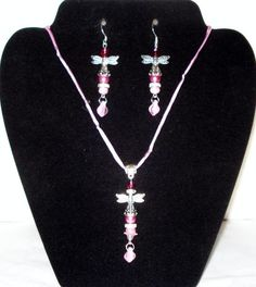 Blush Pink Dragonfly Necklace on Silk Cord & Earrings Set - FREE Shipping!