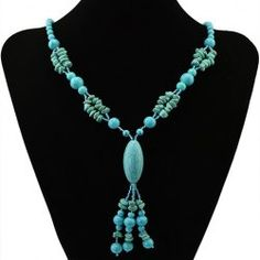 Bohemian Style Faux Turquoise Oval Beads Necklace For Women