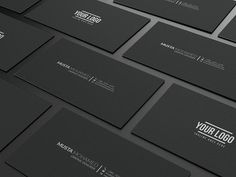 Clean Black Minimal Business Card Templates - Easy customizable and editable- 300 DPI CMYK Print Ready- x with bleed settin by MustaART Black Business Card, Business Card Psd, Minimalist Business Cards, Cool Business Cards, Business Card Design, Creative Business, Business Card Template Word, Envato Elements, Design Elements