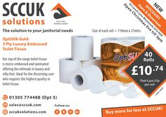 Are you looking for a great value 3 Ply 'Luxury' Embossed Toilet Tissue   Then give the OptiSilk Gold at try at only £10.74 for 40 rolls. Thats only 27p per roll (21 mtrs)   Our top of the range toilet tissue is micro-embossed and laminated offering the ultimate in luxury and silky feel. Ideal for the discerning user who requires the highest quality in toilet tissue.