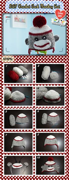 Photo tutorial (not written instructions) of a crochet sock monkey hat. I have another pattern with written instructions posted as well.