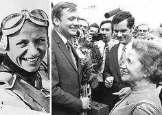 Hanna Reitsch als junge Fliegerin (l.) und beim Empfang von Neil Armstrong auf dem Flughafen in Frankfurt am Main am 7.8.1970 (r.), Quelle: dpa, picture alliance; Kombo: ARD.de