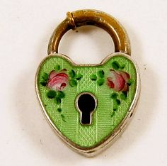 Green Guilloche Enamel Padlock Heart with Floral Decoration . I Love Heart, Key To My Heart, Happy Heart, Heart Art, Under Lock And Key, Vintage Keys, Love Symbols, Heart Jewelry, Heart Shapes