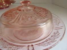 Sharon Pink Depression Glass Covered Cheese by ReVintageLannie