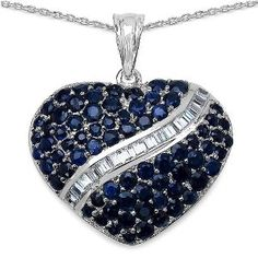 4.90 Ct. T.w. Blue Sapphire and White Topaz Heart Shape Pendant in Sterling Silver available at joyfulcrown.com
