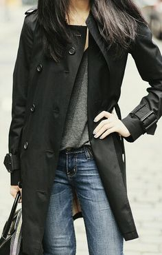 Raining in NYC today... Black trench