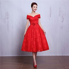 Cocktail+Party+Dress+A-line+V-neck+Tea-length+Lace+with+Beading+/+Flower(s)+–+USD+$+89.99