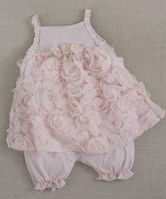 Blush Chiffon Rose Skirted Romper - Infant by Tesa Babe #zulily #zulilyfinds