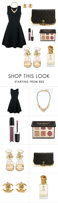 """Untitled #886"" by mariafilomena471 ❤ liked on Polyvore featuring Emporio Armani, Banana Republic, Marc Jacobs, tarte, Jimmy Choo, Chanel and Sisley"