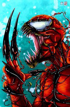 Carnage © Tyrine Carver and Wil Woods of Musetap Studios Get the print at mus. Venom Comics, Marvel Venom, Marvel Villains, Marvel Comics Art, Marvel Characters, Marvel Heroes, Deadpool Wallpaper, Marvel Wallpaper, Symbiotes Marvel