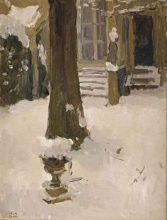 Artwork by Isaac Israëls, The artist's garden at the Koninginnegracht in winter, The Hague, painted 1915 Made of oil on canvas Winter Painting, Love Painting, Figure Painting, Art Nouveau, La Haye, The Artist, Nordic Christmas, The Hague, Dutch Painters