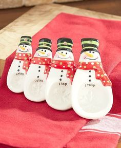 Put a seasonal twist on your baking and cooking with a Snowman Measuring Set. The Measuring Cups stack to build a snowman, which will add holiday decor to your kitchen. Each cup has the unit of measure listed on the inside. The Measuring Spoons use the bottom ball of a snowman to measure small amounts of ingredients. Ceramic.