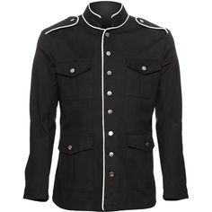 Men's officer jacket black, white piping, by Raven SDL