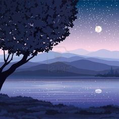 Vector night landscape with mountains, lake and tree on a starry sky background Stock Photo