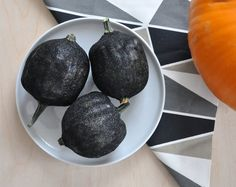 Fekete csillám tök dekoráció - Masni / Black glitter deco pumpkin for this autumn