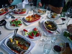The amazing spread of food at a lunch on Skadar Lake, Montenegro.