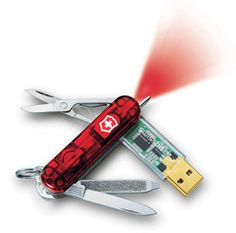I love this Swiss Army Knife with a flash drive.
