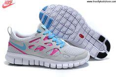 Wholesale Cheap Womens Nike Free Run 2 Metallic Platinum Pink Flash White Blue Shoes Sports Shoes Store