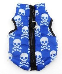 Pet Cat Dog Soft Padded Vest Harness Small dog clothes Blue Skull