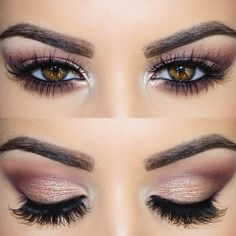 """Close up of the eyes Mac Soft Brown, Folie and Deep Damson on the crease All That Glitters on the lid and Nylon on the tear duct. Loréal…"""