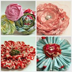 Lovely! http://originateandrenovate.blogspot.com/2011/05/fabric-flowers.html