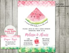 Watermelon baby shower Invitation, Watermelon Invitation, pink invitation, Summer Invitations, girls baby shower by ABCSongShop on Etsy