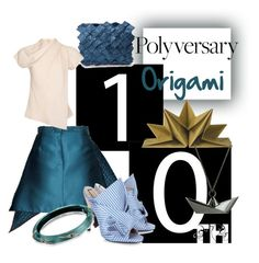 """""""Celebrate Our 10th Polyversary! origami"""" by gilliewill ❤ liked on Polyvore featuring Gyunel, N°21, Clemsa, Topshop, Origami Jewellery, Alexis Bittar, polyversary and contestentry"""