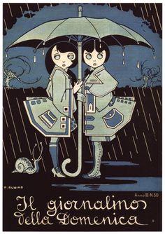 """Antonio Rubino (1880-1964) was a famous illustrator of children's books [cover for """"Il giornalino della Domenica"""", 1908]"""