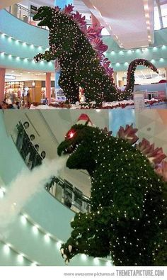 Godzilla tree in the Tokyo mall Cool Christmas Trees, Little Christmas, Xmas Tree, Christmas Tree Decorations, Christmas Time, Christmas Ornaments, Holiday Decor, Merry Christmas, Christmas Feeling