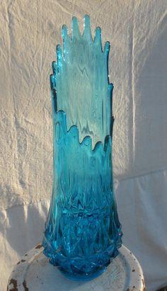 Aqua Teal Blue Art Glass Swung Vase Large by kissmyattvintage, $55.00