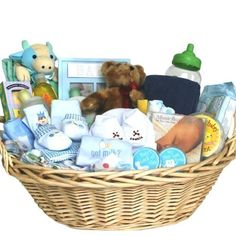 Welcome Home Baby Gift Basket -Blue The Deluxe Welcome Home Precious Baby Basket delivers all sorts of baby's firsts including a first teddy bear, a first tooth keepsake box, and a first haircut keep sake box. This large laundry basket with handles carries all sorts of wholesome baby care items for washing and clothing the new little someone special. Color Theme: Blue. This is a wonderful baby sho... #OrganicStores #Home