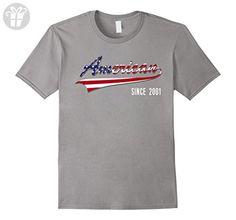 Mens 16th Birthday gift shirt American since 2001 16 years old Medium Slate - Birthday shirts (*Amazon Partner-Link)