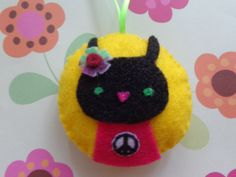 Mrs. Black Bunny Ornament by Pepperland by Pepperland on Etsy
