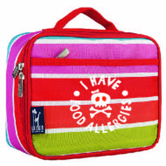 I have food allergies bright stripes lunch box. Available at www.allergyapparel.com #foodallergy
