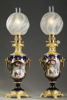 Napoleon III Bayeux Porcelain And Ormolu Antique Oil Lamps, Galerie Atena, Proantic