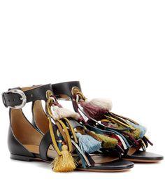Chloé - Embellished leather sandals | mytheresa.com
