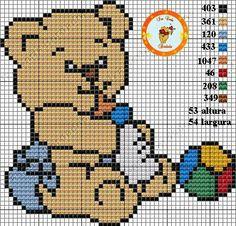 Bem vindo bebê! Cross Stitch Baby, Cross Stitch Charts, Cross Stitch Patterns, Kids Patterns, Square Patterns, Perler Bead Emoji, Bobble Stitch, Charts And Graphs, Crochet Diagram