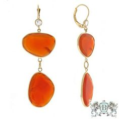 Herco Earrings 14KT Yellow Carnelian Earrings 14VAEA151Y