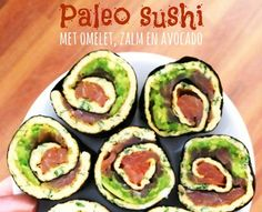 paleo sushi met omelet zalm en avocado