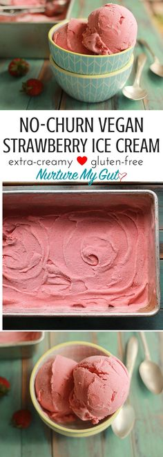 This easy No-Churn Strawberry Vegan Ice Cream is rich and creamy.  Just blend all ingredients in the blender, pour into a loaf pan and let the magic happen.  Made with coconut milk and fresh strawberries.
