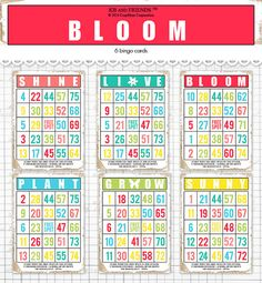 Spring and Summer Printable Bingo Cards for Crafts, Cards, Tags / 2 sizes digital decorative ephemera cards, colorful Bingo Cards, Printable Cards, Printables, Handmade Greetings, Greeting Cards Handmade, Vocabulary Flash Cards, Scrapbook Supplies, Scrapbooking, Project Life Cards